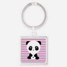 Panda on Pink Teal Stripes Keychains