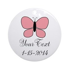 Pink Butterfly Personalizable Ornament (Round)