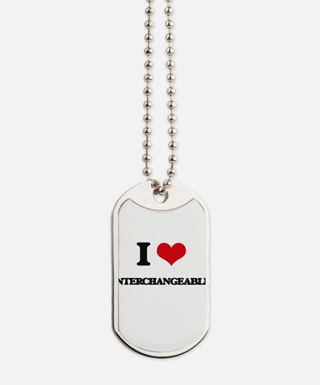 I Love Interchangeable Dog Tags