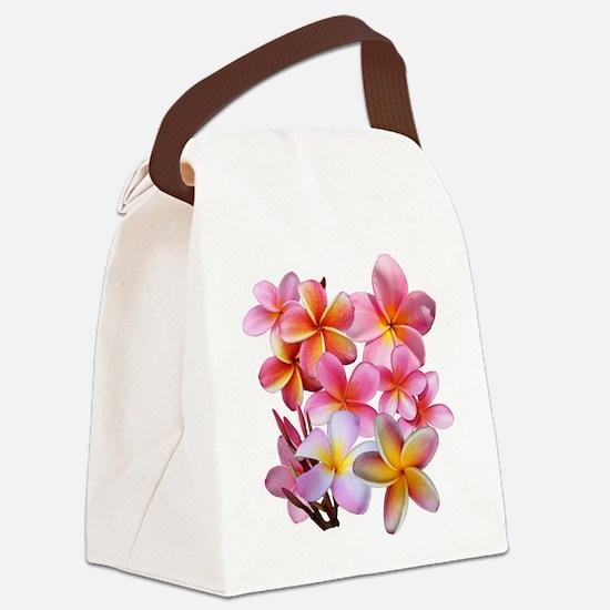 Pink Plumerias Canvas Lunch Bag