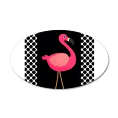 Pink Flamingo Black White Dots Wall Decal