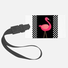 Pink Flamingo Black White Dots Luggage Tag