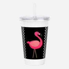 Pink Flamingo Black White Dots Acrylic Double-wall
