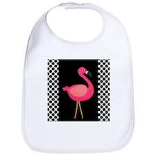 Pink Flamingo Black White Dots Bib