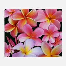 Pink Plumerias Throw Blanket