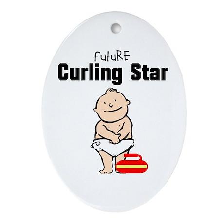 Future Curling Star Ceramic Ornament