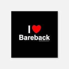 "Bareback Square Sticker 3"" x 3"""