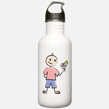 Boy with flowers Water Bottle
