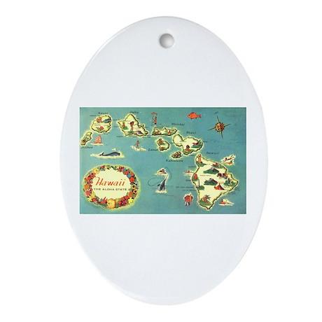 Hawaiian Islands Oval Ornament