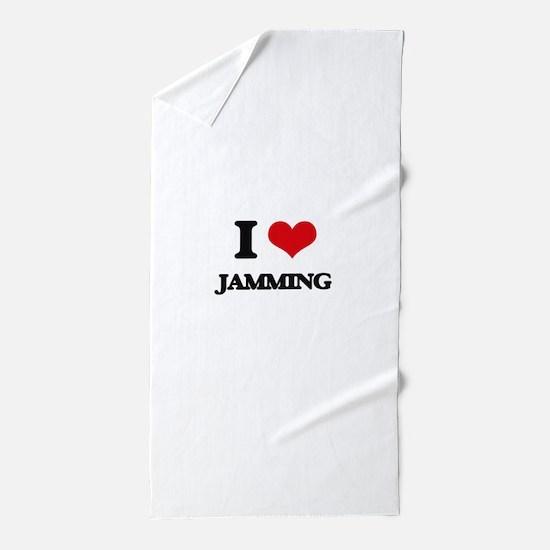 I Love Jamming Beach Towel