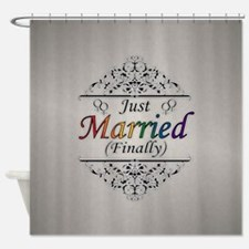 Just Married (Finally) Design Shower Curtain