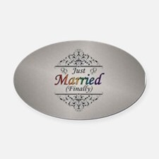 Just Married (Finally) Design Oval Car Magnet