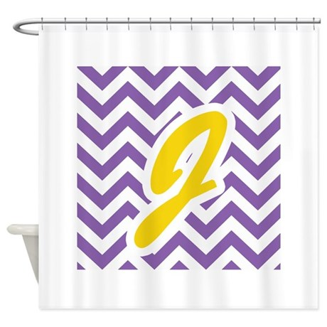 Purple Chevron Gold J Shower Curtain By Admin CP483431