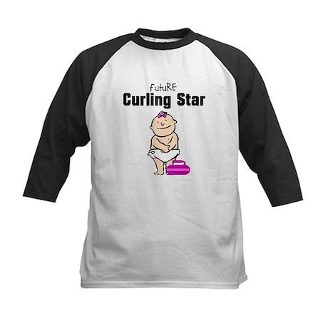 Future Curling Star Girl Kids Baseball Jersey