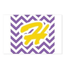 Purple Chevron - Gold H Postcards (Package of 8)