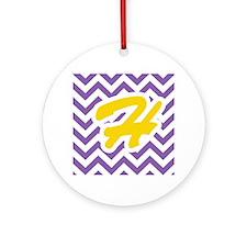 Purple Chevron - Gold H Ornament (Round)