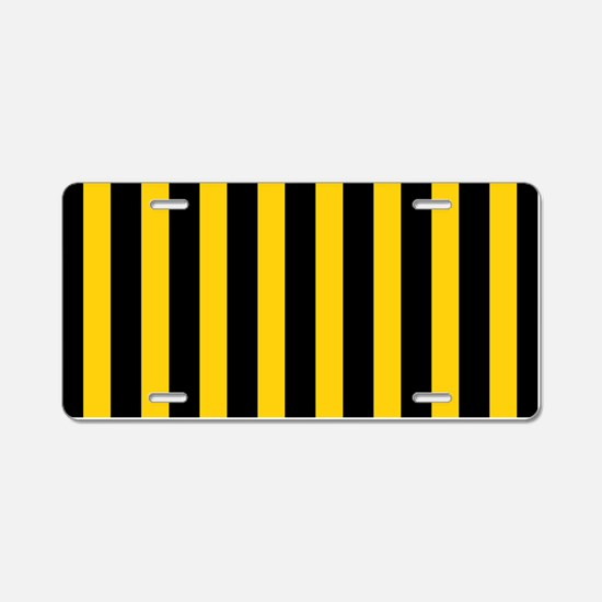 Black And Yellow Stripes Aluminum License Plate