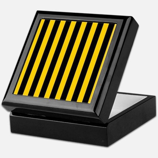 Black And Yellow Stripes Keepsake Box