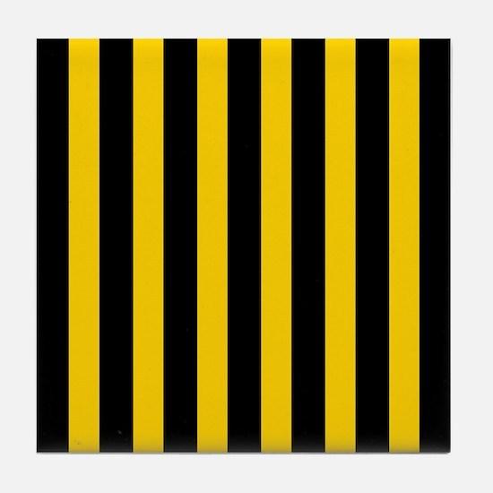 Black And Yellow Stripes Tile Coaster