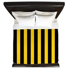 Black And Yellow Stripes King Duvet