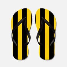 Black And Yellow Stripes Flip Flops