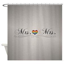Mrs. & Mrs. Lesbian Pride Shower Curtain