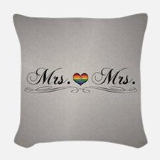 Mrs. & Mrs. Lesbian Design Woven Throw Pillow