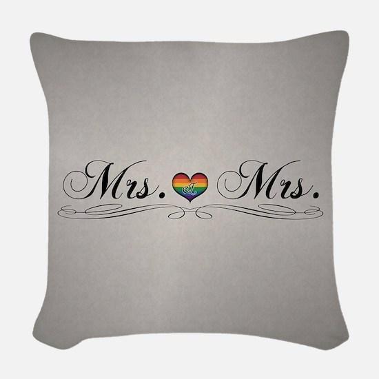 Mrs. & Mrs. Lesbian Design Woven Throw Pillow