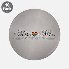 "Mrs. & Mrs. Lesbian Design 3.5"" Button (10 pack)"