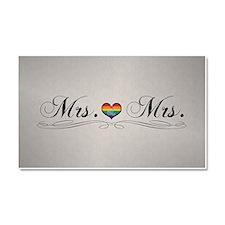 Mrs. & Mrs. Lesbian Pride Car Magnet 20 x 12