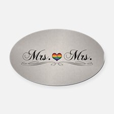 Mrs. & Mrs. Lesbian Design Oval Car Magnet