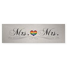 Mrs. & Mrs. Lesbian Pride Bumper Sticker