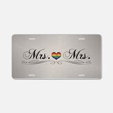 Mrs. & Mrs. Lesbian Design Aluminum License Plate