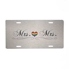 Mrs. & Mrs. Lesbian Pride Aluminum License Plate