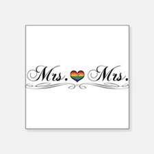"Mrs. & Mrs. Lesbian Design Square Sticker 3"" x 3"""