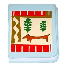 Abstract Dachshund baby blanket
