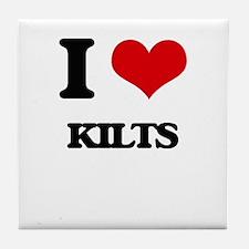 I Love Kilts Tile Coaster