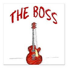 "The Boss, Guitar Square Car Magnet 3"" x 3"""