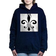 Black Fleur De Lis Women's Hooded Sweatshirt