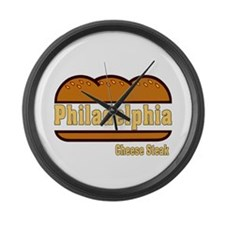 philly cheese steak Large Wall Clock