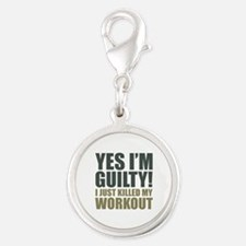 Yes I'm Guilty! Silver Round Charm