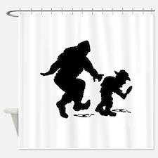 Sasquatch hiker silhouette Shower Curtain