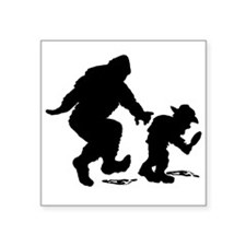 "Sasquatch hiker silhouette Square Sticker 3"" x 3"""