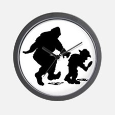 Sasquatch hiker silhouette Wall Clock