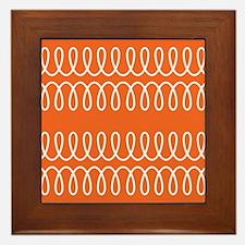 Orange Spiral Pattern Framed Tile
