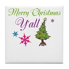 Merry Christmas Yall Tile Coaster