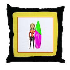Female Surfer Throw Pillow