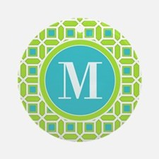 Green and Blue Mosaic Pattern Mon Ornament (Round)