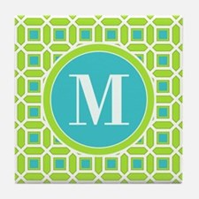 Green and Blue Mosaic Pattern Monogra Tile Coaster