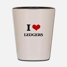 I Love Ledgers Shot Glass